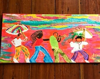 Abstract multimedia Jazz Fest Painting,New Orleans Folk painting,