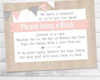 Pink Girl Bookcard Insert, Baby Shower Bookcard