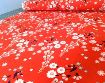Red Floral Foxglove Fabric, Organic Cotton print, GOTS certified, cloud9, quilting cotton, by the yard