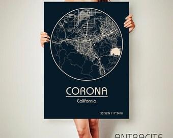 CORONA California Map Corona Poster City Map Corona California Art Print Corona California poster Corona California map art Poster Corona
