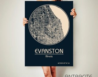 EVANSTON Illinois CANVAS Map Evanston Illinois Poster City Map Evanston Illinois Art Print Evanston Illinois poster Evanston Illinois map