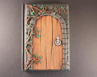 Secret door journal Fairy door Polymer clay journal Unique journals Secret garden Mystic door Polymer clay sketchbook Handmade journal