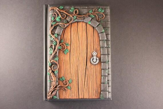Secret door journal fairy door polymer clay journal unique for Secret fairy doors by blingderella