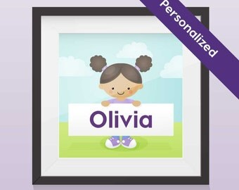 Personalized Portrait Kid's Print- Girl