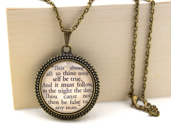 Hamlet, 'To Thine Own Self Be True', Shakespeare, Book Quote Necklace.