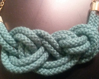 Teal knotted necklace