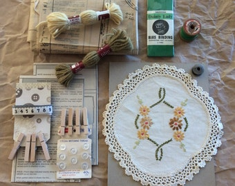 Vintage sewing and styling pack/ sewing ephemera/ sewing pattern/vintage paper/ vintage buttons/ cotton reel/embroidery/doily/ handmade