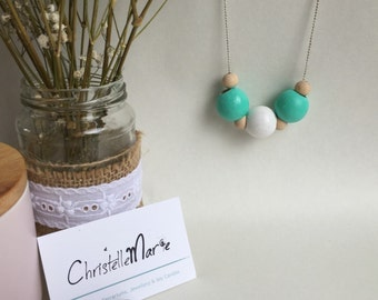 Aqua and white wooden bead necklace