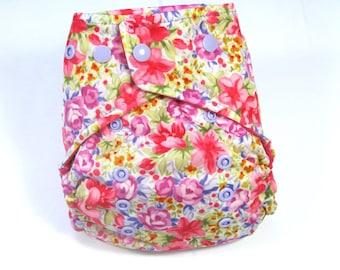 Pink Flower Cloth Diaper, Pocket Diaper, One Size Diaper