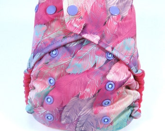 Pink Feathers Cloth Diaper, Pocket Diaper, One Size Diaper