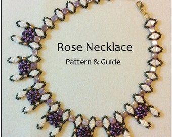 Beading tutorials and patterns, beading pattern instructions, beaded necklace pattern, DIY,PDF, flower pattern, Tila bead pattern, super duo