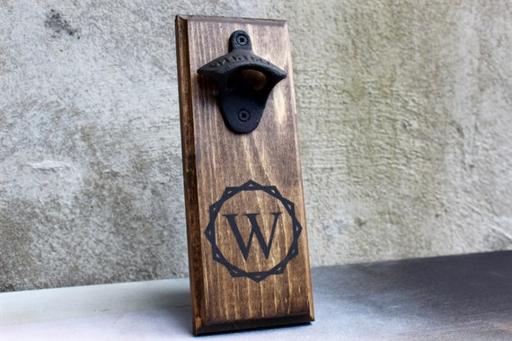 Bottle opener personalized wall mounted rustic bottle opener - Personalized wall mount bottle opener ...