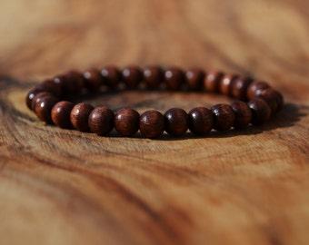 Chestnut Brown Wood - 6mm Wooden Bead Bracelet