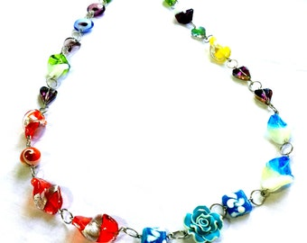 Long Statement Necklace Made With Beautiful Unique Large Size Coral and Flower Glass Beads