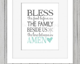 Bless The Food Before Us Print Printable Home Decor Kitchen