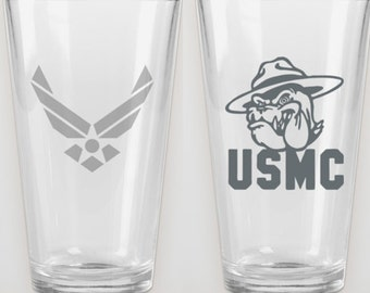 Military - Etched Glasses - Army, Navy, USMC, Air Force Available - Great Gifts!