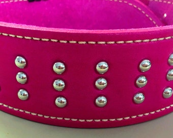 Pink Leather Dog Collar with Pink Leather Inner Lining & Domed Studs