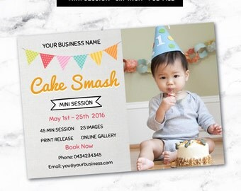 Photography Marketing Board - Mini Session - Baby Cake Smash - Photoshop Template for Photographers