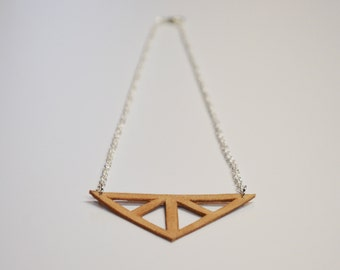 Small Triangle Cutout Leather Necklace