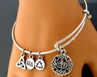 Scottish Thistle Birthstone Charm Bangle Bracelet