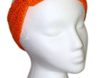 Orange Headband, Pumpkin Orange Knotted Headband, Crochet Orange Knotted Headband, Orange Headwrap, Orange Knotted Headwrap