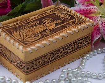 Jewelry box, Handmade, Birch bark