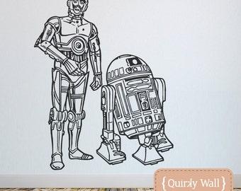 C3PO & R2D2 Starwars themed vinyl wall decals - Amazing detail - Sci fi Star Wars Sticker