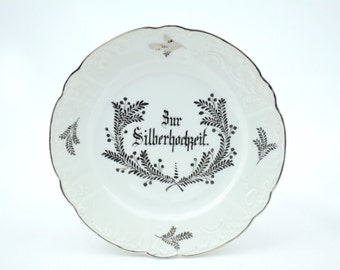 Silver wedding anniversary, anniversary, collection plate, wedding, memory, German porcelain, bride and groom
