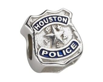 Houston Police Charm - Fits Pandora Bracelets - Sterling Silver