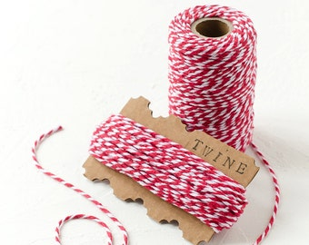 15 m or 20m Red and White Baker's Twine-Cotton Twine-Packaging-String-Colored-Gift Wrap-Tag-Bakers-Christmas-Wrapping-Vintage