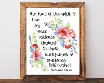 Fruit of the spirit, Galatians 5:22, Bible Verse, Scripture Print, Printable, Scripture Art, Bible Verse Print, Love Joy Peace, sign, fruits