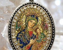 Our Lady of Perpetual Help Handmade Necklace Catholic Christian Religious Jewelry Medal Pendant Our Lady of Perpetual Succour, Theotokos
