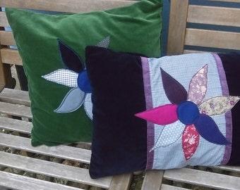 Appliqued Flower Cushion