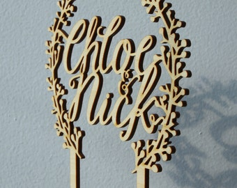 Personalized cake topper with names and wreath