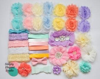 Pastel Color Headband Supply Kit, Baby Shower Headband Kit, Infant Headband Kit, DIY Headband, Kit #234