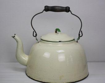 Vintage Enamel Coffee Pot/Large Enamel Coffee Pot