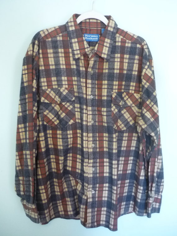 1990s Norman Rockwell Flannel / Brown, Grey, and Tan Painted Plaid / Modern Size 2XL - 3XL