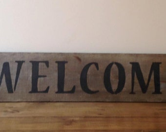 Primitive Welcome Sign with Willow Trees