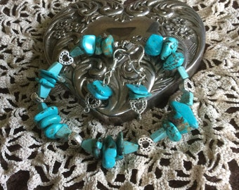 "A 8"" Turquoise Heart and Beads with Earrings to Match"