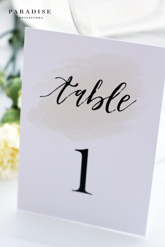 Modern calligraphy table numbers digital files or printed