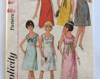 1960s vintage sewing pattern Simplicity 5966 petite Bust 32 empire bodice shift retro 60s dress or maxi with variations Mad Men style