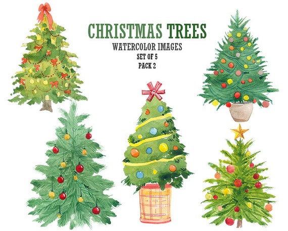 Watercolor Clipart Christmas Tree Clipart Christmas Clip Art