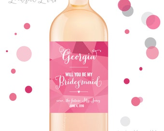 Bridesmaid proposal wine labels, bridesmaid wine labels, thank you bridesmaid labels, bridesmaid gift - style 506 LIMELIGHT LABELS