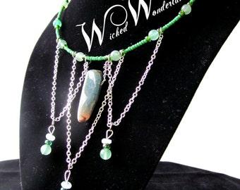 Natural Crystal Choker Necklace (Green)