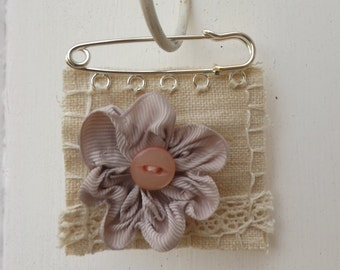 Fabric flower brooch, shabby chic, beautiful