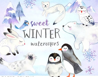 Watercolor Winter Animals Clipart | Winter Watercolors Holiday Clip Art -  Polar Bear, Penguins, Snowy Owl - Mountain and Tree - Digital PNG