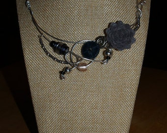 Rosebud grey necklace, silver wire, flower