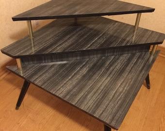 Mid Century Modern Atomic Corner 3 tier table