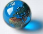 "22mm (0.9"") Blue Glass Earth Globe Marble - Beautiful Jewellery Stone / Pendant"