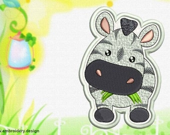 Cute Kawaii zebra patch embroidery design - downloadable - 3 sizes